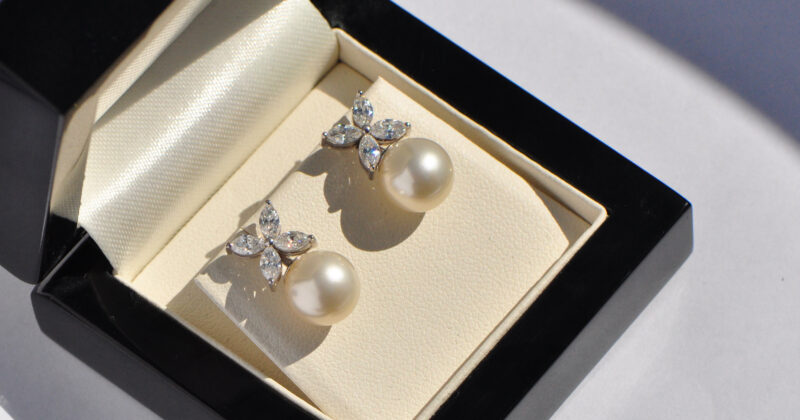 Marquise diamond flower and pearl earrings