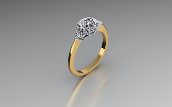 CAD Round and trillion diamond engagement ring 1