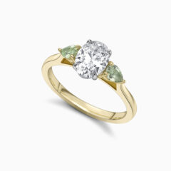 Oval Diamond And Green Sapphire Perspective