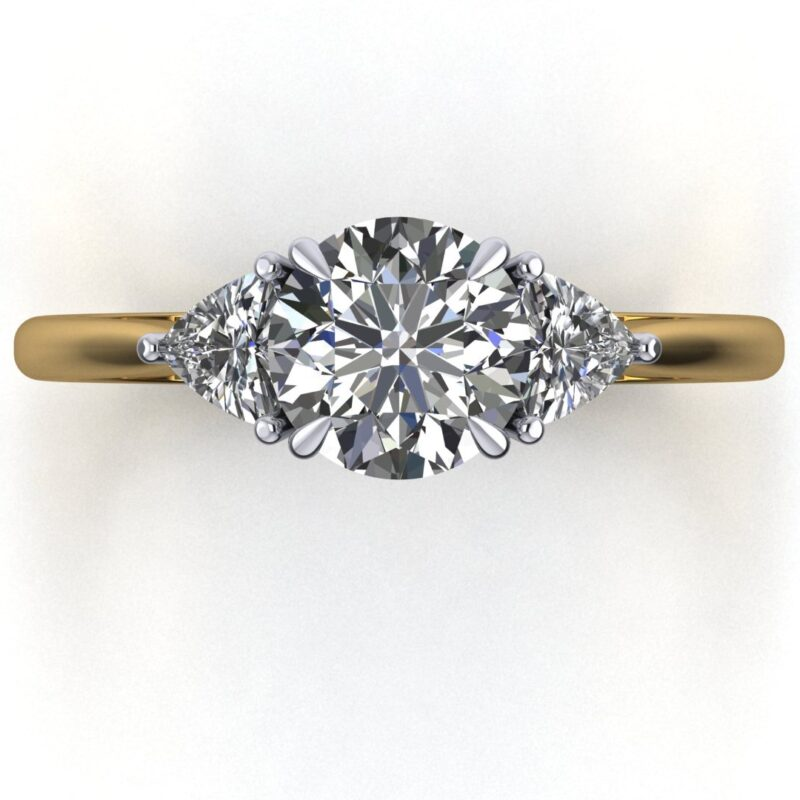 CAD Round and trillion diamond engagement ring 2