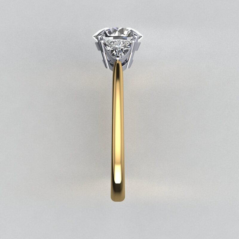 CAD Round and trillion diamond engagement ring 4