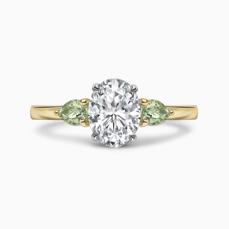 Oval Diamond And Green Sapphire Front