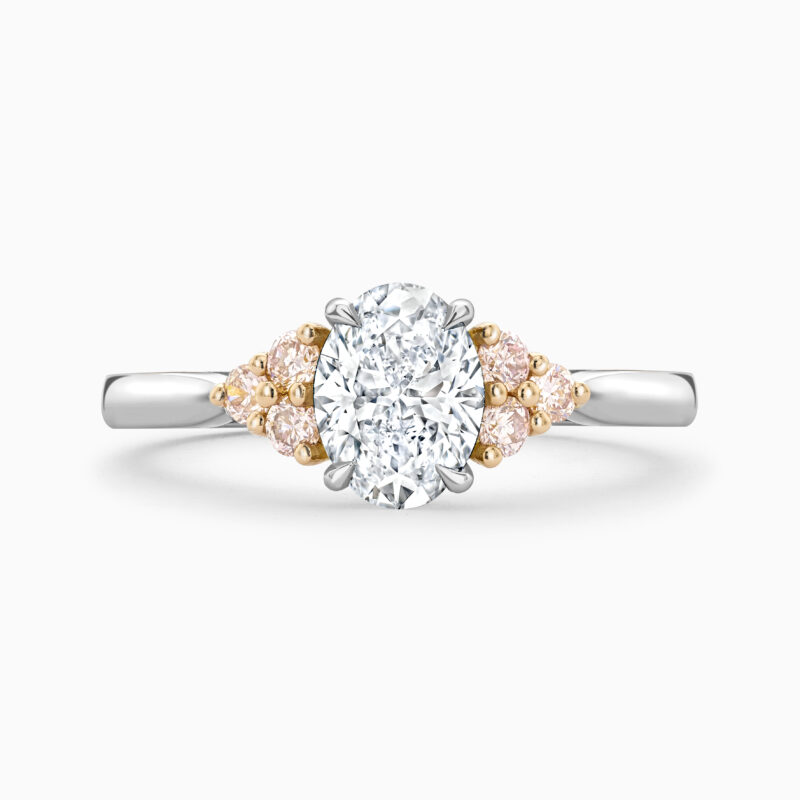 Pink diamond engagement ring front