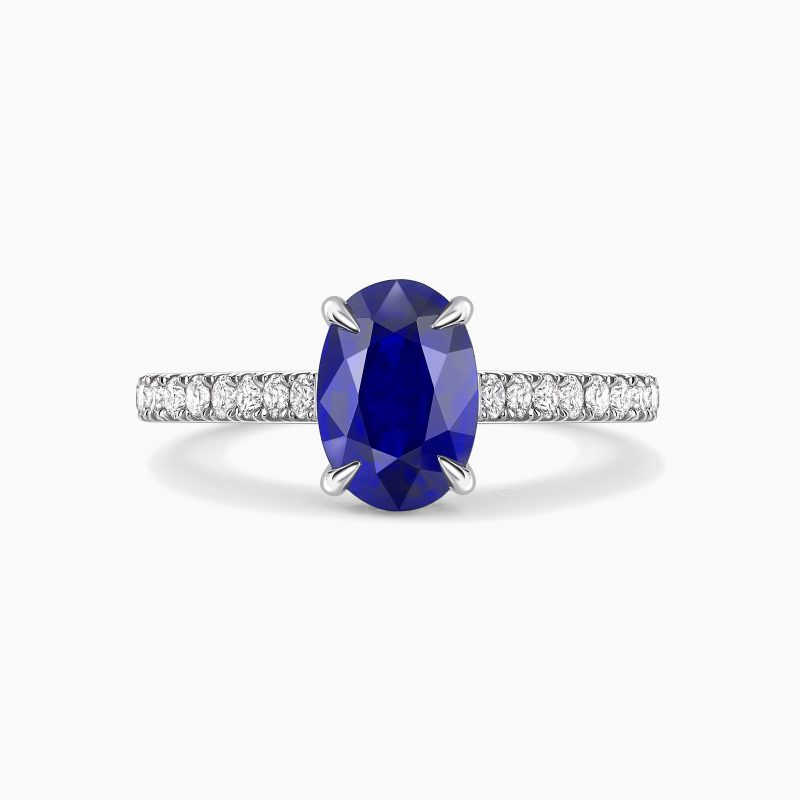 Sapphire ring with diamond band