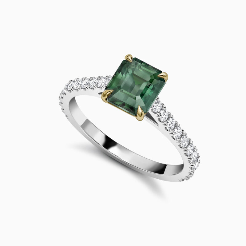 Teal Sapphire Ring Perspective